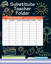 Kid-drawn Elementary Substitute Teacher Folder