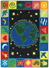 "In the Beginning© Sunday School Rug, 7'7"" x 7'7"" Square"