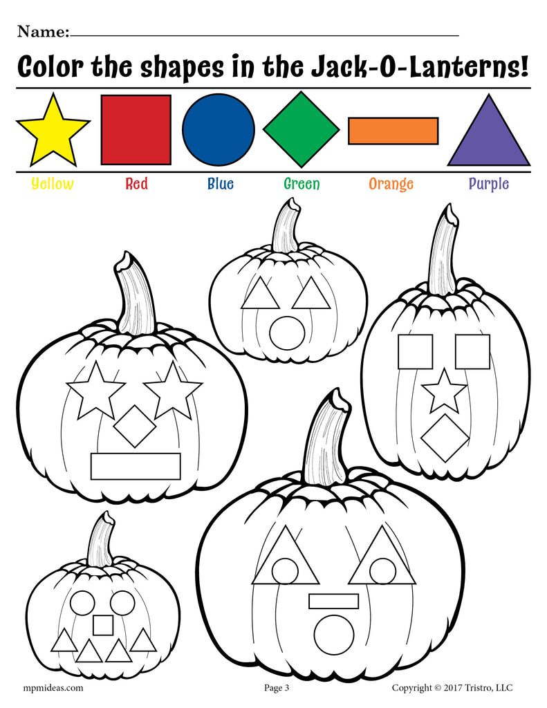 FREE Printable Jack-O-Lantern Shapes Coloring Pages!