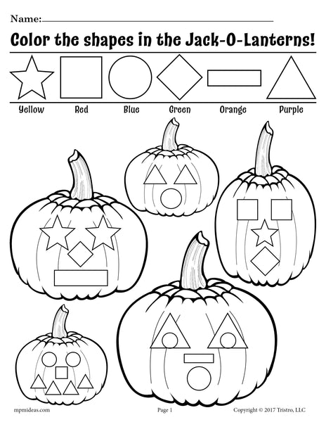 Printable Jack-O-Lantern Shapes Coloring Pages!
