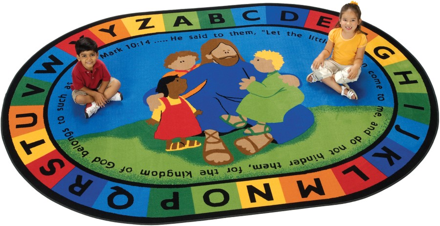 Jesus Loves the Little Children KID$ Value PLUS Discount Circle Time Rug, 6' x 9' Oval