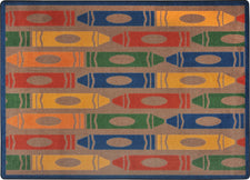 "Jumbo Crayons© Classroom Rug, 3'10"" x 5'4"" Rectangle Earthtone"