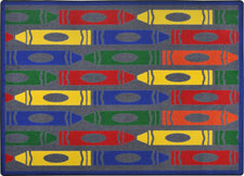 "Jumbo Crayons© Classroom Rug, 3'10"" x 5'4"" Rectangle Rainbow"