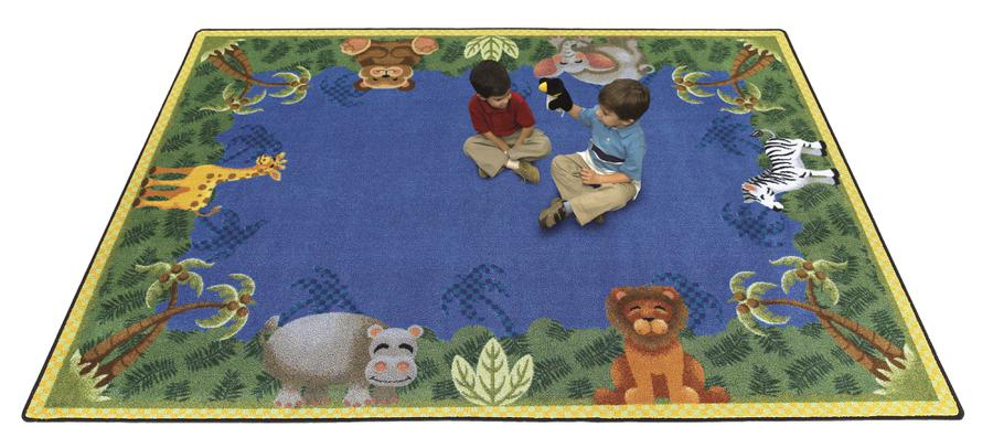 "Jungle Friends© Kid's Play Room Rug, 3'10"" x 5'4"" Rectangle"
