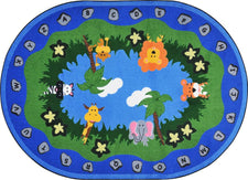"Jungle Peeps© Classroom Circle Time Rug, 7'8"" x 10'9""  Oval"