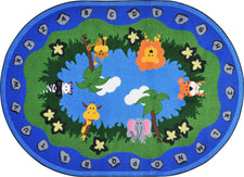 "Jungle Peeps© Alphabet Classroom Rug, 5'4"" x 7'8""  Oval"