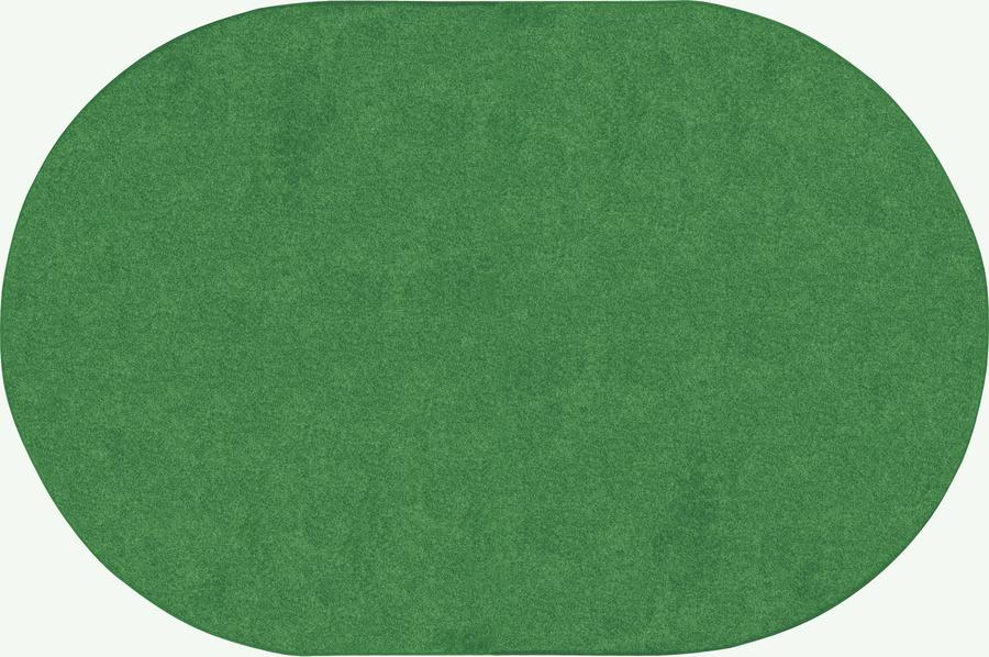 Just Kidding™ Grass Green Classroom Rug, 6' x 9' Oval