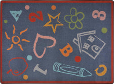 "Kid's Art© Kid's Play Room Rug, 3'10"" x 5'4"" Rectangle Chalkdust"