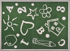 "Kid's Art© Classroom Rug, 5'4"" x 7'8"" Rectangle Green"