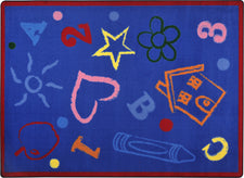 "Kid's Art© Classroom Rug, 5'4"" x 7'8"" Rectangle Rainbow"