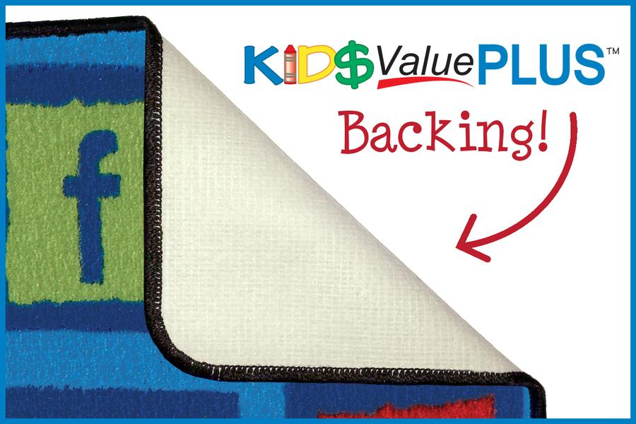 Alphabet KID$ Value PLUS Discount Classroom Seating Rug, 6' x 9' Rectangle