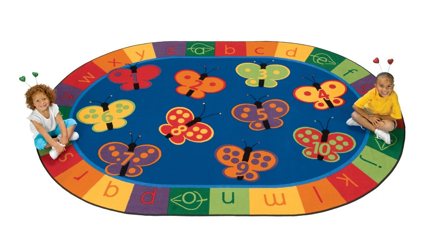 KIDSoft™ 123 ABC Butterfly Fun Circle Time Classroom Rug, 8' x 12' Oval