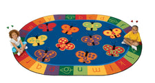 "KIDSoft™ 123 ABC Butterfly Fun Circle Time Classroom Rug, 6'9"" x 9'5"" Oval"