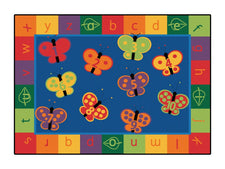 KIDSoft™ 123 ABC Butterfly Fun Circle Time Classroom Rug, 6' x 9' Rectangle