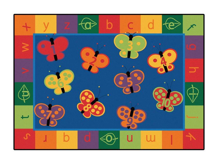"KIDSoft™ 123 ABC Butterfly Fun Classroom Rug, 3'10"" x 5'5"" Rectangle"