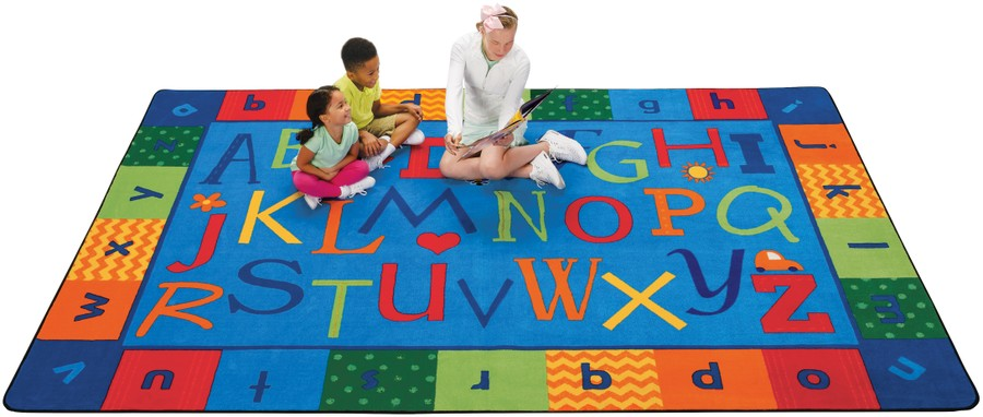 KIDSoft™ Alphabet Around Literacy Play Room Rug, 4' x 6' Rectangle