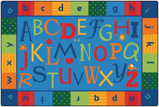 KIDSoft™ Alphabet Around Literacy Classroom Circle Time Rug, 6' x 9' Rectangle