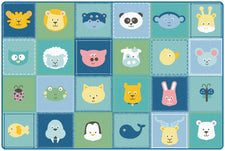 KIDSoft™ Animal Patchwork Classroom Rug, 4' x 6' Rectangle – Soft