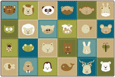 KIDSoft™ Animal Patchwork Classroom Rug, 6' x 9' Rectangle – Nature