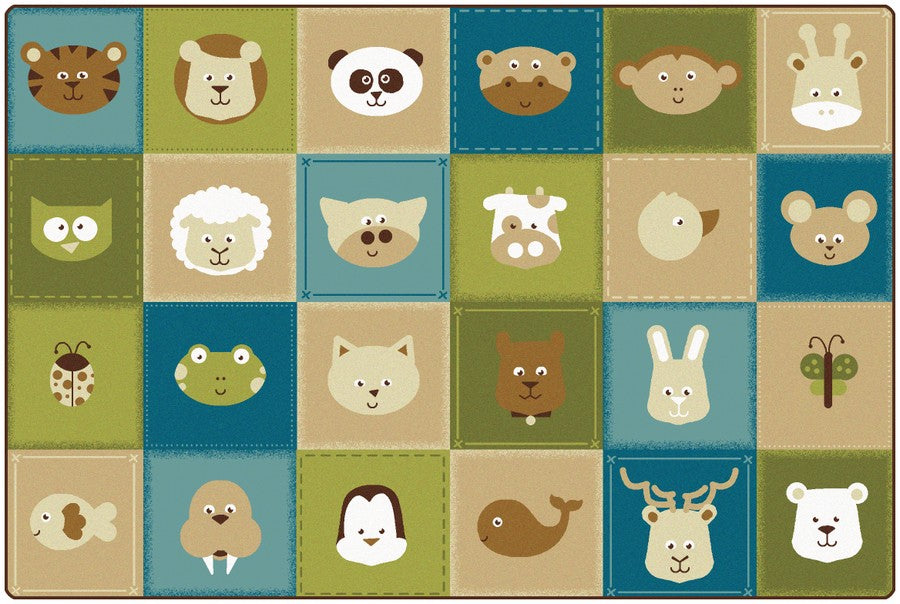 KIDSoft™ Animal Patchwork Classroom Rug, 8' x 12' Rectangle – Nature