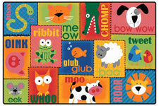 KIDSoft™ Animal Sounds Toddler Classroom Rug, 6' x 9' Rectangle