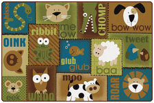 KIDSoft™ Animal Sounds Toddler Classroom Rug - Nature, 6' x 9' Rectangle