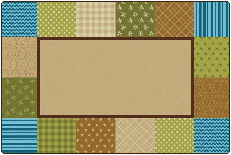 KIDSoft™ Pattern Blocks Classroom Rug, 6' x 9' Rectanlge – Nature