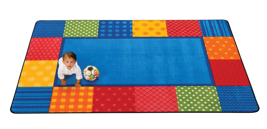 KIDSoft™ Pattern Blocks Classroom Rug, 4' x 6' Rectanlge – Primary