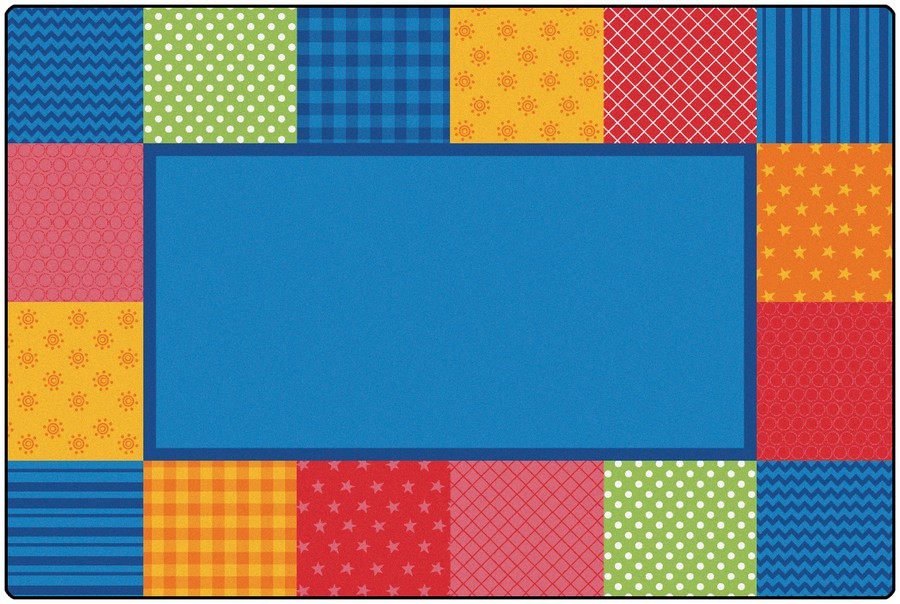 KIDSoft™ Pattern Blocks Classroom Rug, 8' x 12' Rectanlge – Primary