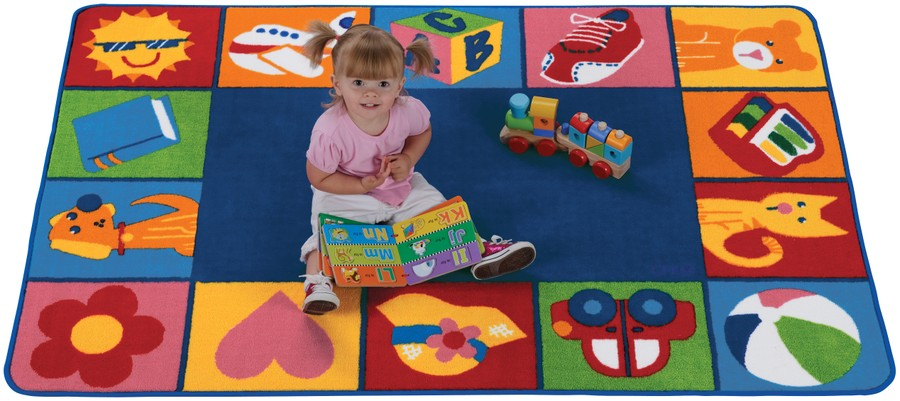 KIDSoft™ Colorful Toddler Blocks Classroom Circle Time Rug, 6' x 9' Rectangle