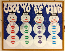 """Cool To Be Kind"" Winter Character Building Bulletin Board"