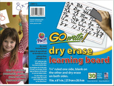 GoWrite Dry Erase Learning Boards Non Adhesive 8-1/4 x 11 30Pk
