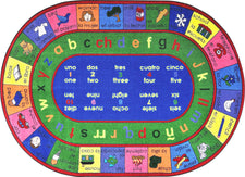 "LenguaLink© (Spanish) Classroom Circle Time Rug, 7'8"" x 10'9""  Oval"