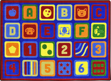 "Letters Count© Classroom Circle Time Rug, 7'8"" x 10'9"" Rectangle"