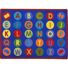 "Library Dots™ Classroom Circle Time & Seating Rug, 7'8"" x 10'9"" Rectangle"