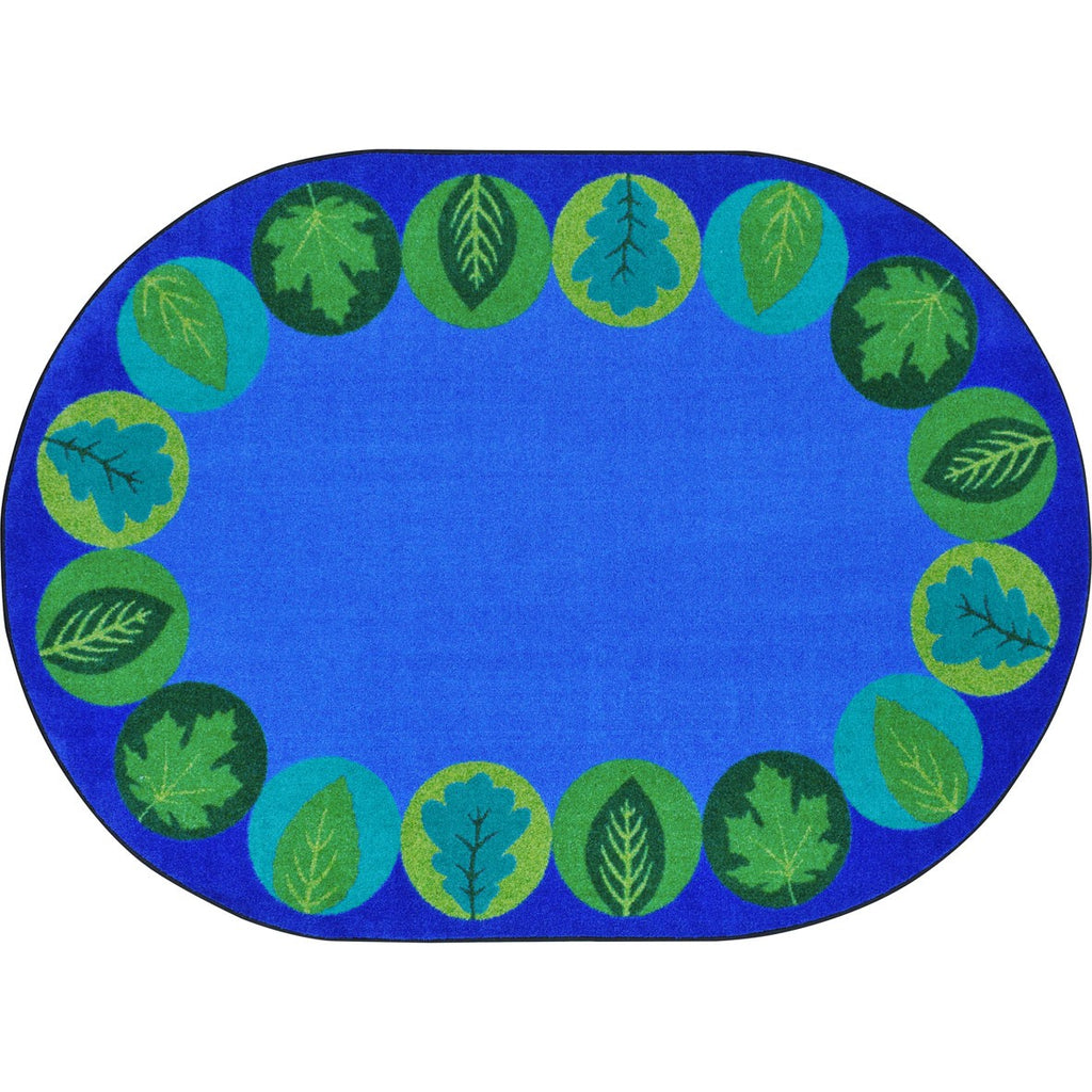 "Lively Leaves™ Classroom Circle Time & Seating Rug, 7'8"" x 10'9"" Oval"