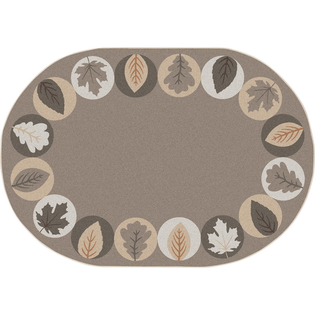 "Lively Leaves™ Classroom Circle Time & Seating Rug - Neutral, 5'4"" x 7'8"" Oval"