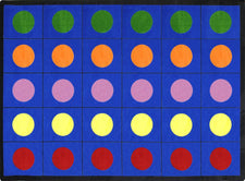 "Lots of Dots© Primary Classroom Circle Time Rug, 7'8"" x 10'9"" Rectangle"