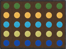 "Lots of Dots© Earthtone Classroom Rug, 5'4"" x 7'8"" Rectangle (Seats 20)"