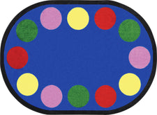 "Lots of Dots© Primary Classroom Circle Time Rug, 7'8"" x 10'9"" Oval"