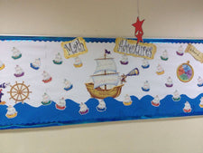 """Math Adventures!"" Interactive Nautical Themed Bulletin Board"