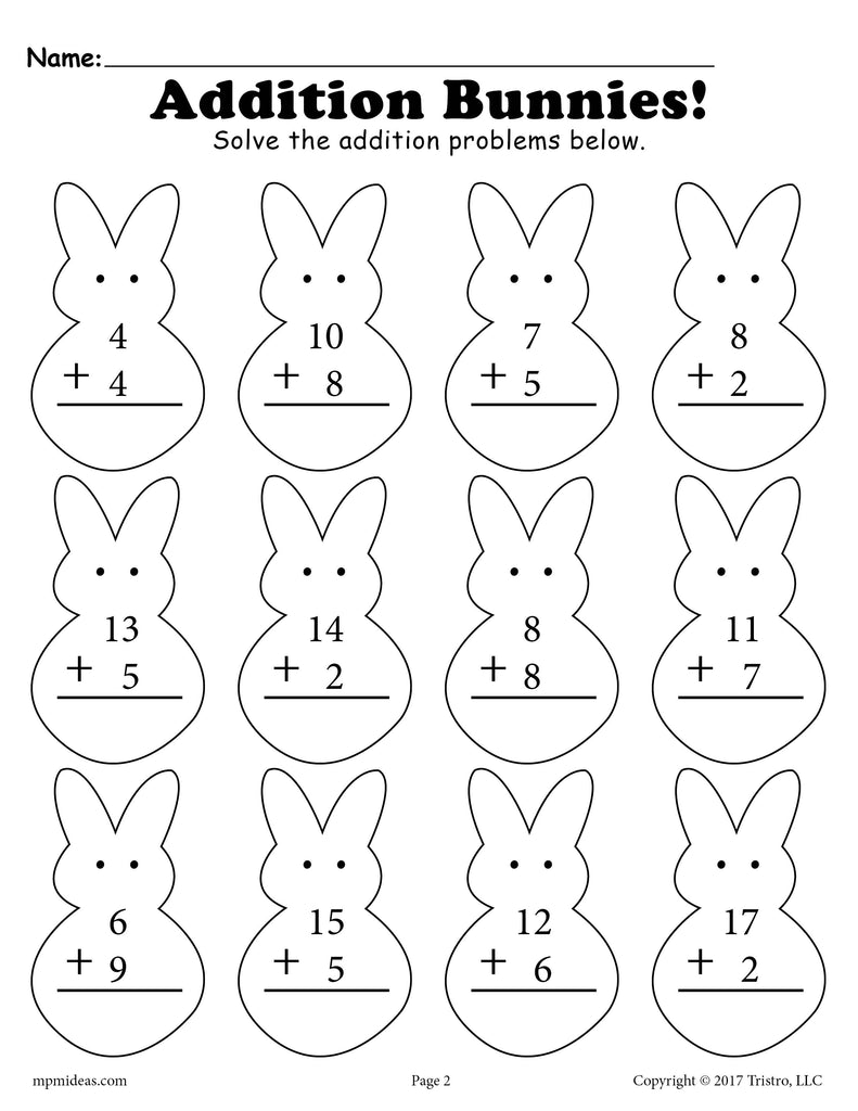Spring Addition & Subtraction Worksheets - 3 Versions!