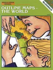 Outline Maps-The World Reproducible Book, Grades 6-9