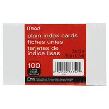 Cards Index Plain 3 x 5 100 Count