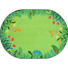"Merry Meadows™ Green Classroom Rug, 5'4"" x 7'8"" Oval"