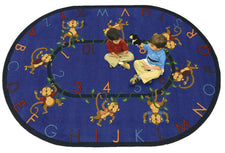 "Joy Carpets Monkey Business© Alphabet & Numbers Classroom Rug, 5'4"" x 7'8"" Oval Blue"