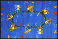 "Monkey Business© Classroom Circle Time Rug, 7'8"" x 10'9"" Rectangle Blue"