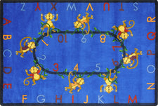 "Monkey Business© Alphabet & Numbers Classroom Rug, 5'4"" x 7'8"" Rectangle Blue"