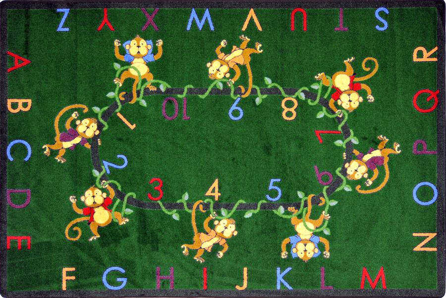 "Monkey Business© Alphabet & Numbers Classroom Rug, 5'4"" x 7'8"" Rectangle Green"
