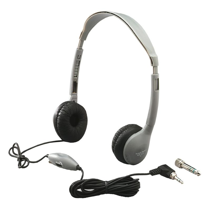 Personal Stereo Mono Headphones Leatherette Ear Cushions With Volume Control